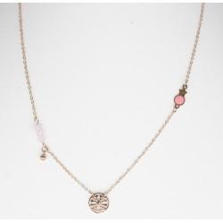 collier acier rose